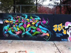 Wildstyle graffiti in Callam Street, Woden