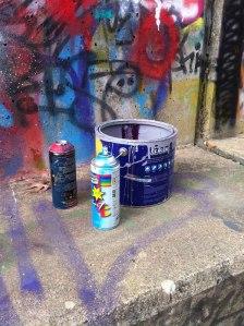 Graffiti waste left at legal graffiti sites